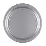 8 Plates Silver Paper Round 22.8 cm