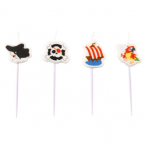 4 Mini Character Candles Pirate Height 6.7 cm