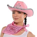 Hat Cowgirl Rhinestone Pink One Size