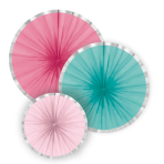 3 Fan Decorations Flamingo Paradise Paper 16 cm / 28 cm / 35 cm