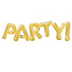 """SuperShape Phrase """"Party"""" GoldFoil Balloon P35 Packaged 83  x 22 cm"""