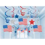 30 Swirl Decorations USA Foil / Paper 61 cm