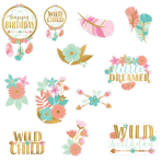 12 Cutouts Boho Birthday Girl Paper