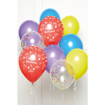 DIY Balloon Bouquet Happy Birthday Rainbow 10 Balloons