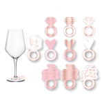 8 Prosecco Glass Markers Hen Party Rose Gold / Pink Plastic 5 x 2.9 cm