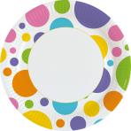 8 Plates Rainbow Dots Paper rund 22,8 cm