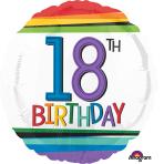 "Standard ""Rainbow Birthday 18"" Foil Balloon Round, S40, packed, 43cm"