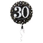 Standard Sparkling Birthday 30 Foil Balloon Round S55 Packaged 43 cm