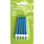 10 Spiral Candles Glitter Blue Height 6.3 cm