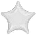 """Standard """"Metallic White"""" Foil Balloon Star, S15, packed, 48cm"""