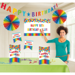 Room Decoration Kit Birthday Accessories - Primary Rainbow Personalize It 11 Pieces