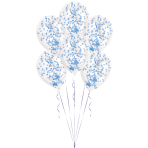 6 Latex Balloons Clear Confetti Filled Blue (2 g, 1 cm) 27.5 cm / 11""