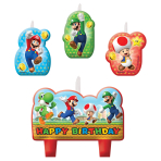 4 Mini Character Candles SuperMario Height 4,5 / 6 cm
