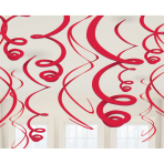 12 Swirl Decorations Apple Red Foil 55.8 cm