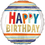 Standard Happy Birthday Letters and Stripes Foil Balloon S40 packaged