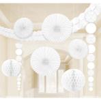 Decoration Kit Damask White Paper 9 Pieces 360 cm / 90 cm / 20.3 - 30.4 cm