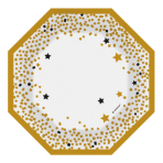 6 Plates Formshaped Golden Wishes Paper 18.5 x 18.5 cm