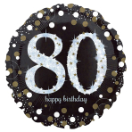 Standard Sparkling Birthday 80 Foil Balloon Round S55 Packaged 43 cm
