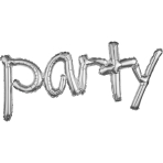 "Phrase Freestyle ""Party"" Silver Foil Balloon, P20, packed, 93 x 40cm"