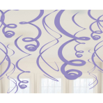 12 Swirl Decorations New Purple Foil 55.8 cm