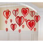 Decoration Kit Hearts 3D Foil 16 Pieces 9.5 - 30.4 cm