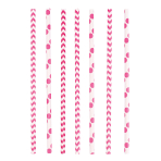 24 Drinking Straws Dots & Chevron Bright Pink Paper 19.5 cm