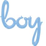 CI: Phrases Script Phrase Boy Pastel Blue Foil Balloon G40 Packaged 73cm x 381cm