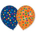 8 Latex Balloons Confetti 4 Colour Global Print 25.4 cm/10''