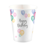 8 Cups Happy Birthday Pastel Paper 250 ml