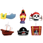 6 Mini Character Candles Pirates Map Height 3.2 cm