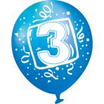 "6 Latex Balloons Age 3 22.8cm / 9"""