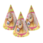 6 Party Cone Hats Charming Horses