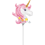 "Mini Shape ""Magical Unicorn"" Foil Balloon  , A30, bulk, 22 x 25cm"