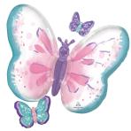 SuperShape Flutter Butterfly Foil Balloon P35 Packaged 73 x 71 cm