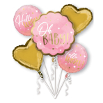Bouquet Pink Baby Girl Foil Balloon P75 Packaged