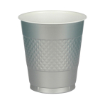 10 Cups Silver Plastic 355 ml