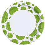 8 Plates Kiwi Dots Paper Round 22.8 cm