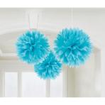 3 Fluffy Decorations Caribbean Blue Paper 40.6 cm