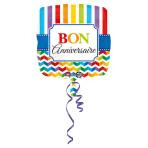 Standard Stripes & Chevron BonAnniversaire Foil Balloon S40 Packaged 43 cm