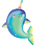 Supershape Happy Narwhal Foil Balloon P35 packaged 73cm x 99cm