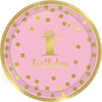 8 Plates 1st Birthday Paper Round Pink & Gold 17.7 cm