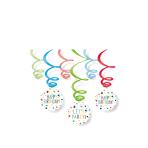 6 Swirl Decorations Confetti Birthday Foil / Paper 80 cm