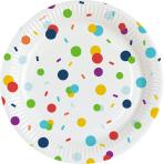 8 Plates Confetti Birthday Paper Round 22,8 cm