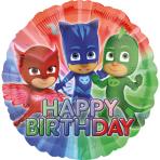 "Standard ""PJ Masks Happy Birthday"" Foil Balloon Round, S60, packed, 43cm"