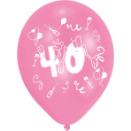 8 Latex Balloons 40 2 Sided Print 25.4 cm/10''