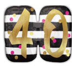 """SuperShape Holographic """"Pink & Gold Milestone 40"""" Foil Balloon, P40, packed, 63 x 50 cm"""