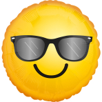 "Standard ""Smiling Sunglass Emoticon"" Foil Balloon Round, S40, packed, 43 cm"