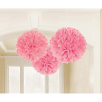 3 Fluffy Decorations Pretty Pink Paper 40.6 cm