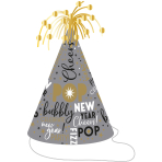 """Cone Hat with Tinsel """"Happy New Year"""" Paper / Foil Silver / Gold Height 23,5 cm"""