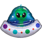 Supershape Holographic Alien Space Ship Foil Balloon P40 packaged